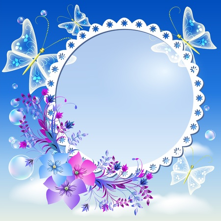 butterfly background: Photo frame with flowers and butterflies