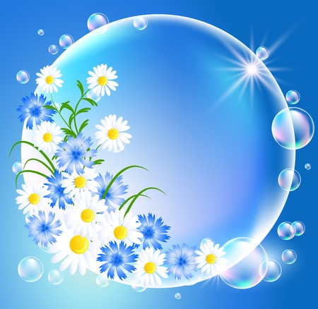 Bubbles with flowers and sun Vector