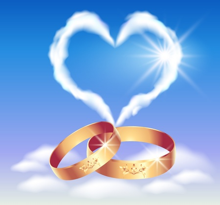 golden ring: Card with wedding rings and heart in the clouds