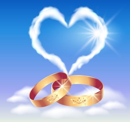 Tarjeta con anillos de boda y el corazón en las nubes