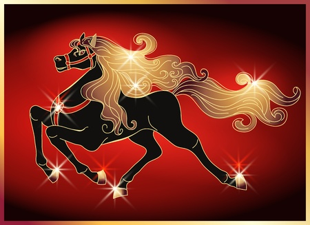 Galloping black horse with golden mane on red background Vector