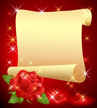 Folded parchment for your text and rose Stock Vector - 12168726