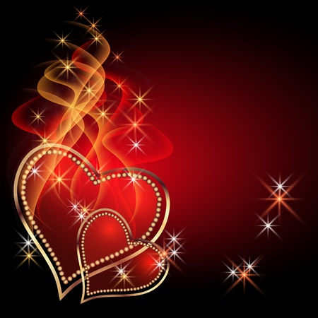 Burning two hearts with decorative smoke Vector