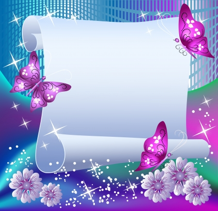 butterfly background: Magic background with paper, butterflies and a place for text