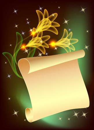 Magic transparent flowers and parchment Illustration
