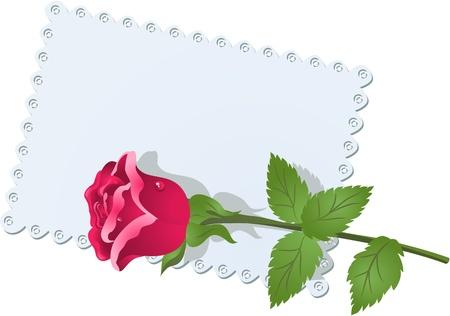 curled edges: Biglietto di auguri con pizzo e rose tovagliolo