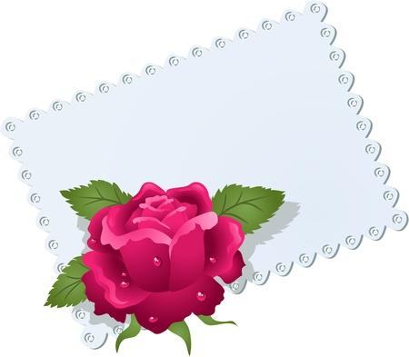 curled edges: Biglietto di auguri con tovagliolo pizzo e rosa