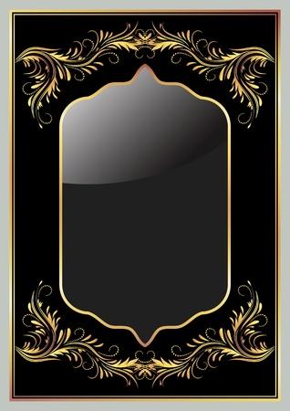 Black background with luxury golden ornament  Иллюстрация