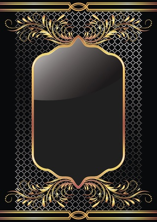 Black background with luxury golden ornament Vector