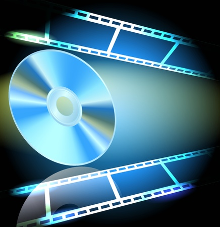 rom: DVD and filmstrip on the luminous background