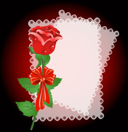 Greeting card with lace napkin and rose Stock Vector - 12468089
