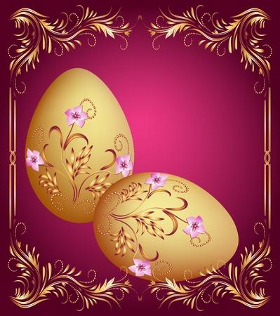 uova d oro: Biglietto di auguri con le uova di Pasqua