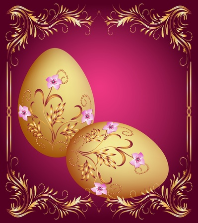 golden eggs: Greeting card with easter eggs