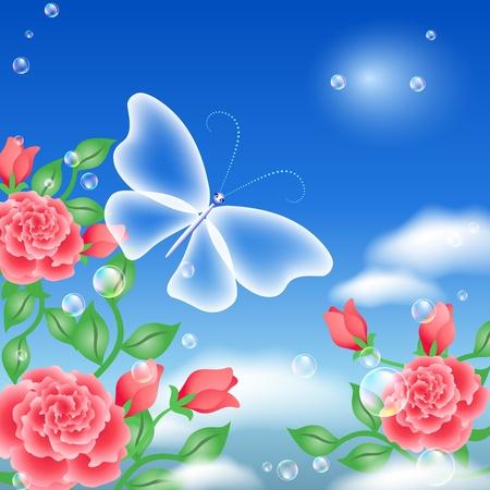 Vlinder en rozen in de lucht