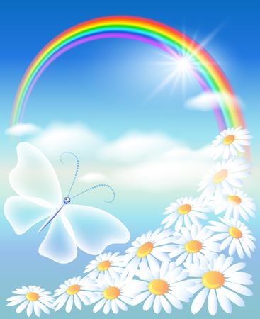 dia soleado: Arco iris, flores y mariposas en el cielo
