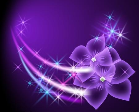 neon wallpaper: Glowing sfondo con fiori e stelle