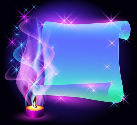 Folded magic parchment, stars and burning candle