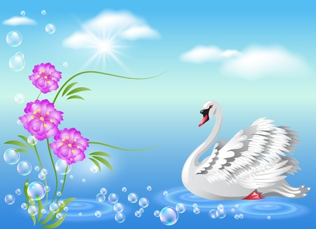 Elegant white swan and  flowers  Vector