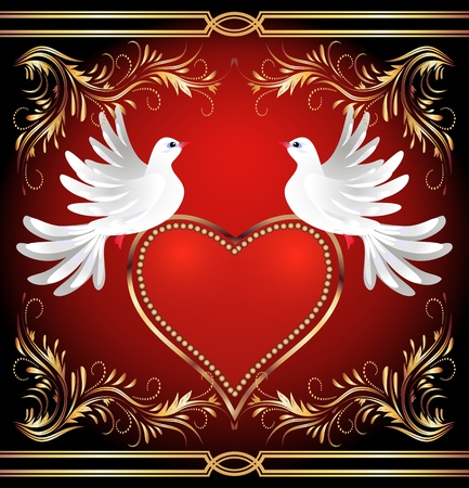 Two dove on red background with heart and golden ornament Vector