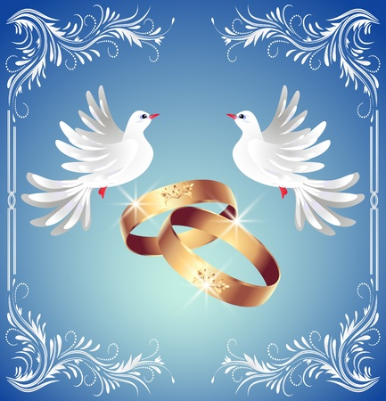 nuptials: Card with wedding rings and two doves in ornament frame