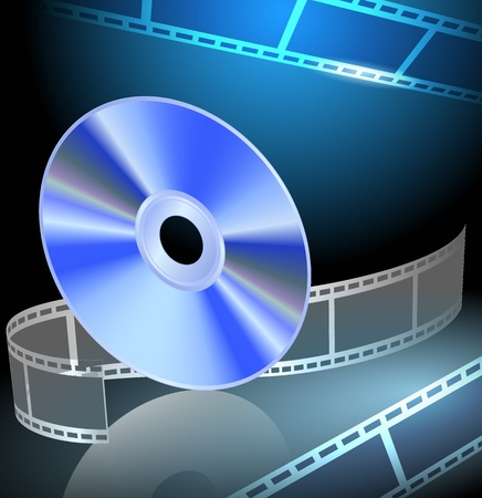 blu ray: DVD and filmstrip on the luminous background