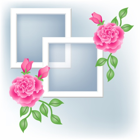 Page layout photo album with roses
