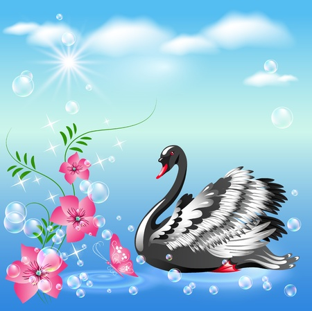 Elegant black swan and  flowers Vector