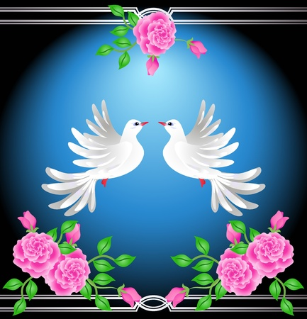 Two doves on blue background with roses Stock Vector - 12468119