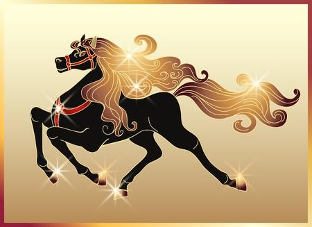 Galopujący czarnego konia ze złotą grzywą