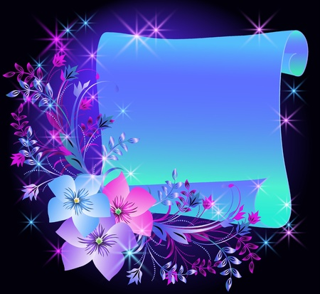 Magic flowers and parchment Vector