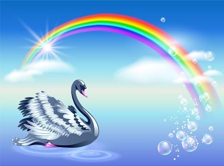 Elegante cisne y el arco iris