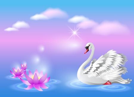 Elegant white swan and lily  イラスト・ベクター素材
