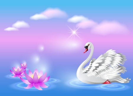 Elegant white swan and lily Stock Illustratie
