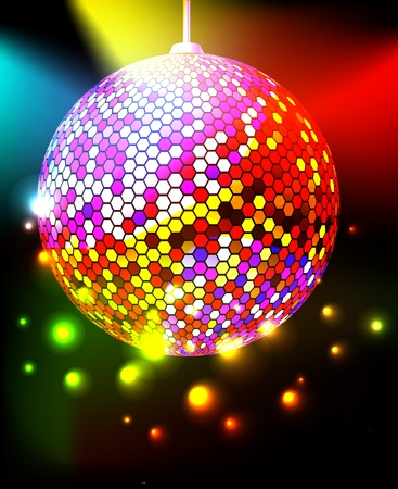 Celebratory background with disco ball Vector