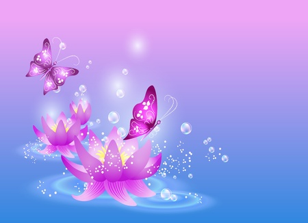 Magic lilies and butterfly