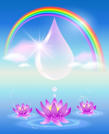 Rainbow, water drop, clouds and lilies  Symbol of clean water  Vector