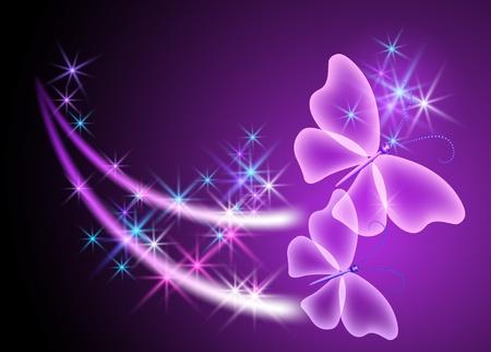 Świecące tło z motyli i gwiazd Ilustracje wektorowe