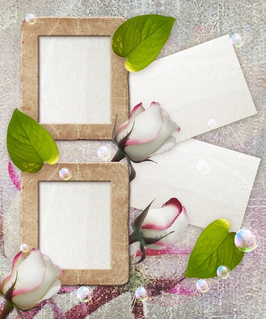 bubble sheet: Old grunge photo frame with roses and paper for letter   Stock Photo