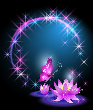 Magic lilies and butterfly Stock Vector - 12469505