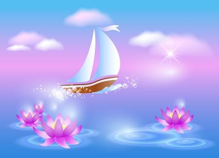 Barco de vela y los lirios violetas en contra de un amanecer rosado