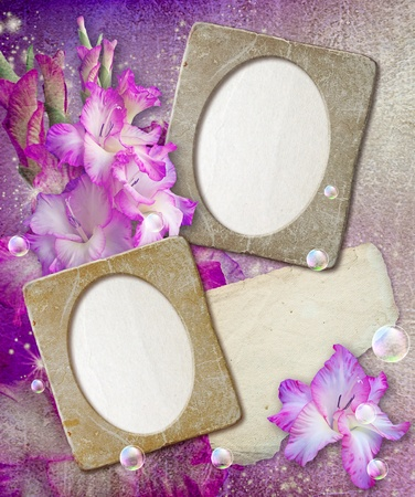 Old grunge photo frame with gladiolus and paper for letter   photo