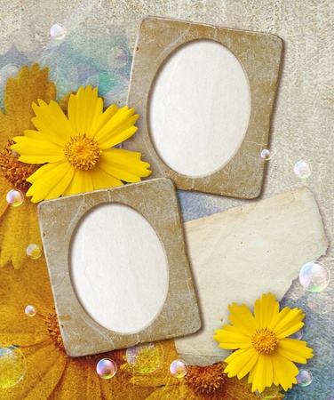 Old grunge photo frame with daisy and paper for letter Stock Photo - 12469539