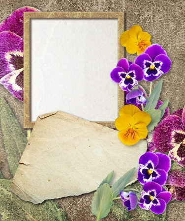 Old grunge photo frame with pansy and paper for letter   photo