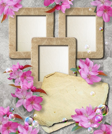 Old grunge photo frame with cherry and paper for letter   photo