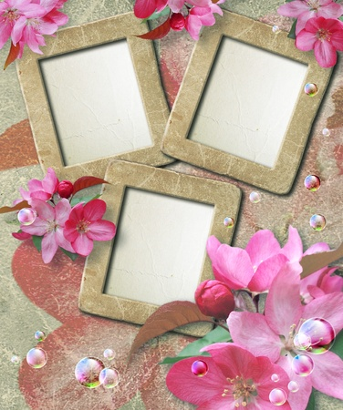 Old grunge photo frame with cherry and paper for letter