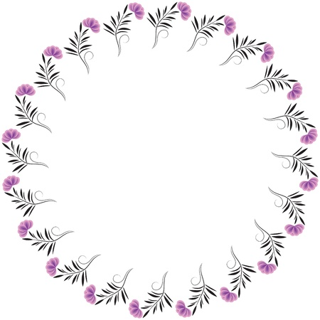 Decorative round frame with flower ornament Vector