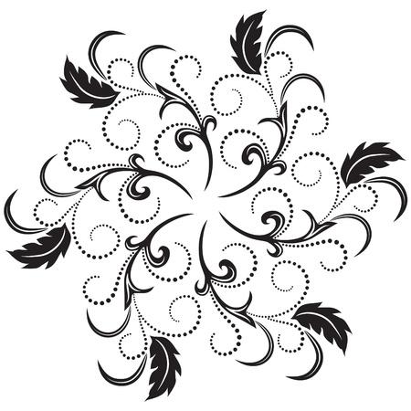 romanticism:  Decorative round frame with flower ornament Illustration