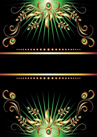 Background with ornament and golden ribbon Vector