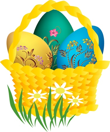 grass line: Easter eggs in baskets