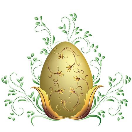 Easter egg and floral ornament